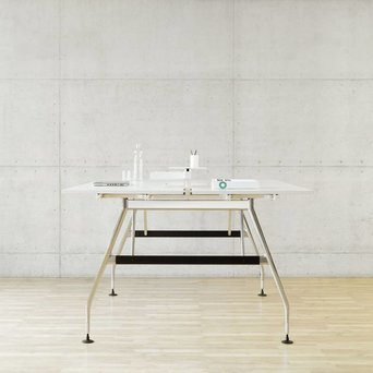 Vitra OUTLET | Vitra Ad Hoc duo bench standing height | Aluminium leg | Own table tops