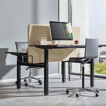 Workbrands OUTLET | Workbrands E-Smart Doppelter Arbeitsplatz | B 160 x T 170 cm | Anthrazit Stahl