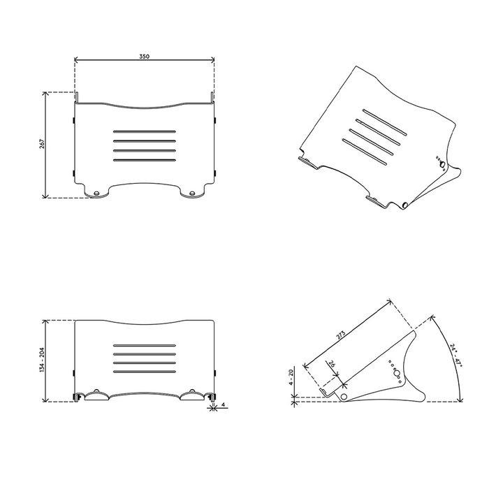 Dataflex Addit laptop riser - adjustable 45