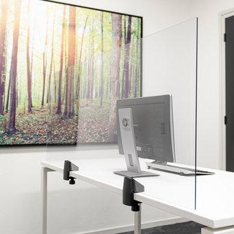 Smit Visual Scheidingsscherm Bureau/Tafel | Plexiglas transparant | Incl. 2 klemmen