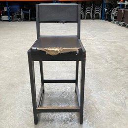 Workbrands RWC | Barkruk met rugleuning | Bruin leder | Houten frame