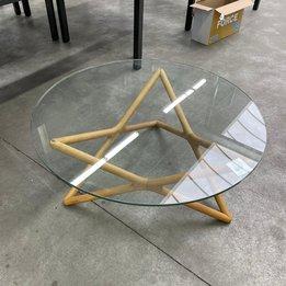Workbrands RWC   Ronde salontafel   Glazen tafelblad   Hout frame   Ø 100 x H 40 cm