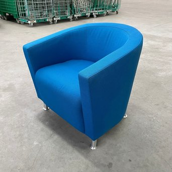 Citi RWC | Citi fauteuil | Blauw gestoffeerd | 4-poots chroom