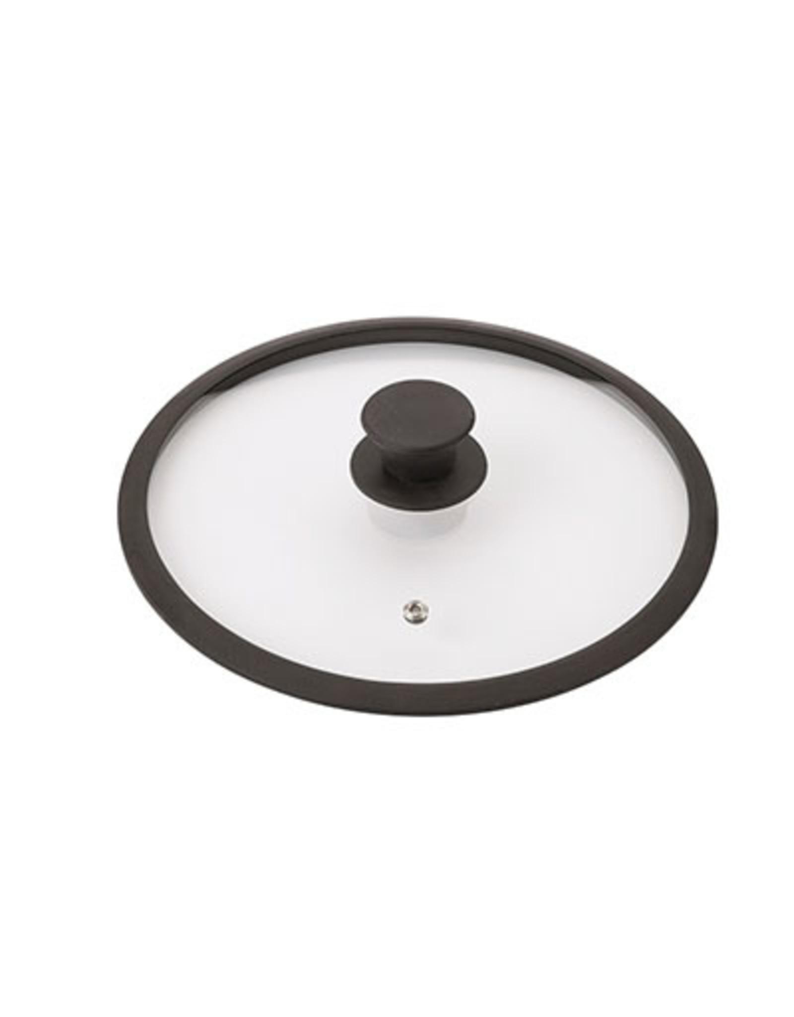 Braet Glasdeksel met siliconen rand en knop speciaal voor inductie pannen. Met stoom functie.
