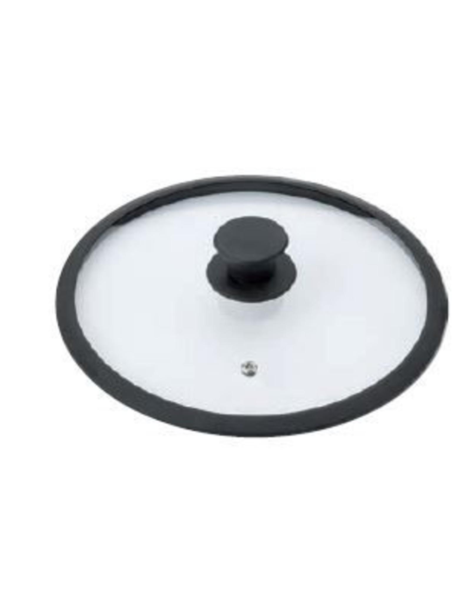 Braet  Schöner Glasdeckel 28 cm mit Silikonkante und Knopf. Ideal für 28 cm Induktionspfannen. Mit Dampffunktion.