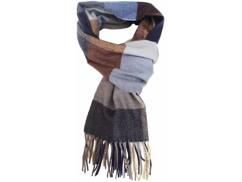 heren sjaal geruit blue 30 x 195 cm. - megatip.be