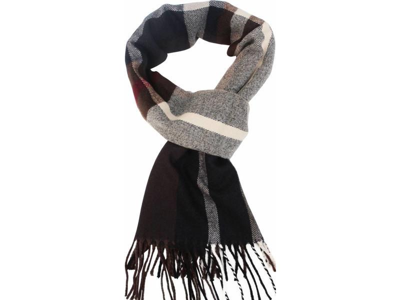 geruite heren sjaal brown 30 x 195 cm. - megatip.be