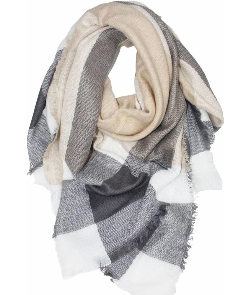 Dames Sjaal 140 x 140 cm beige/ecru/grijs