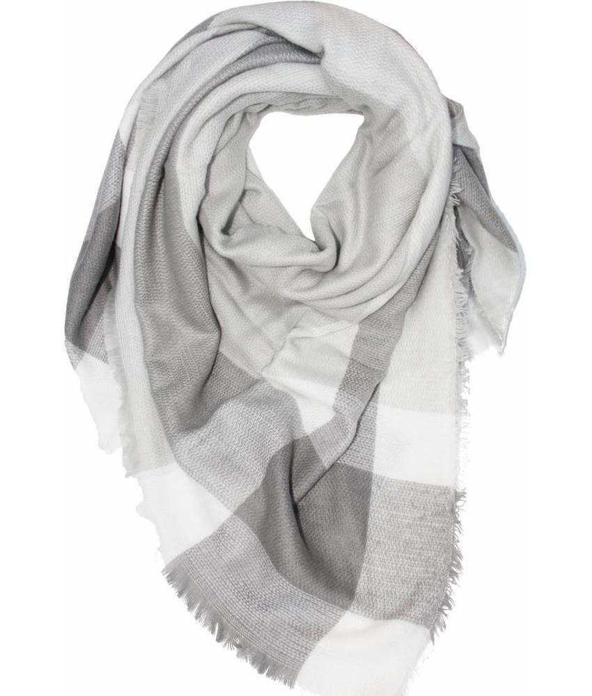 Dames Sjaal 140 x 140 cm grijs/wit