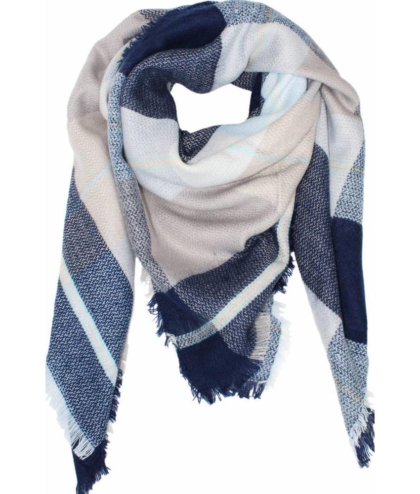 Dames Sjaal 130 x 130 cm Licht Blauw