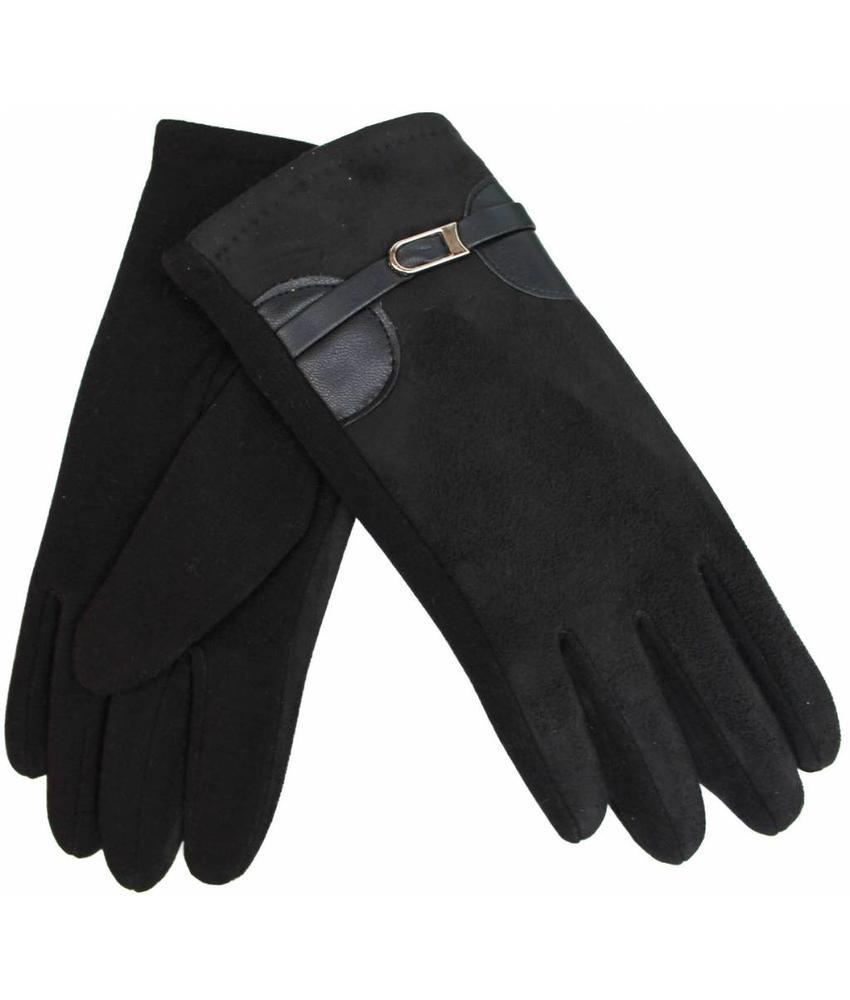 Suede Dames Handschoenen Black