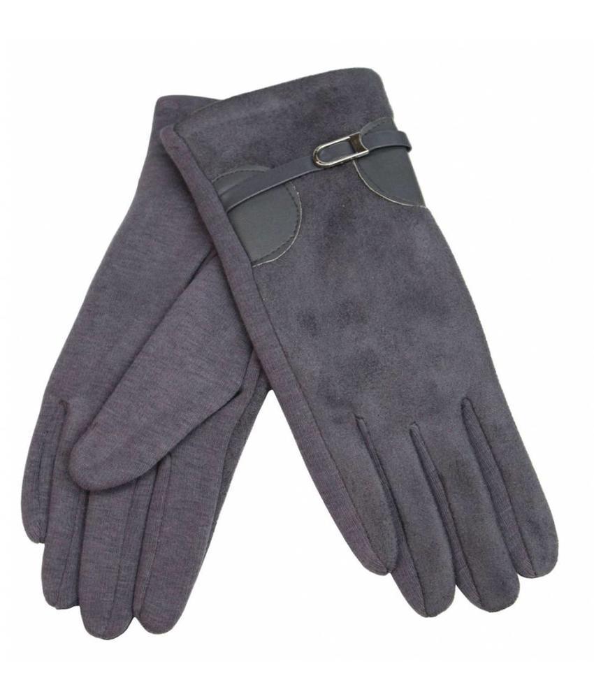 Suede Dames Handschoenen Grey