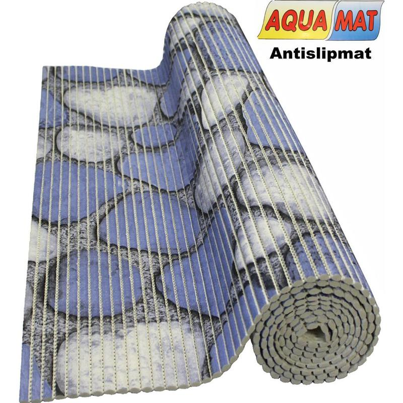 Aquamat antislipmat blauw steenmotief 0,65 x 0,80  meter