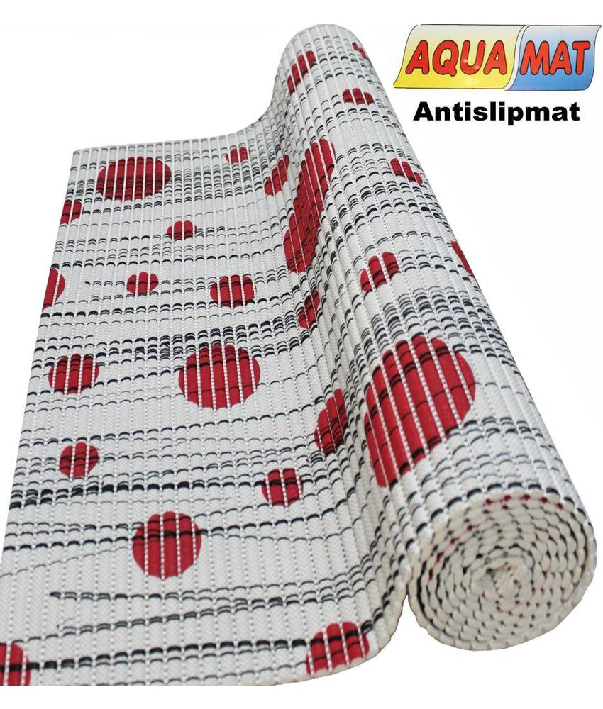 Aquamat antislipmat Grijs / Rode stip 0,65 x 0,80  meter