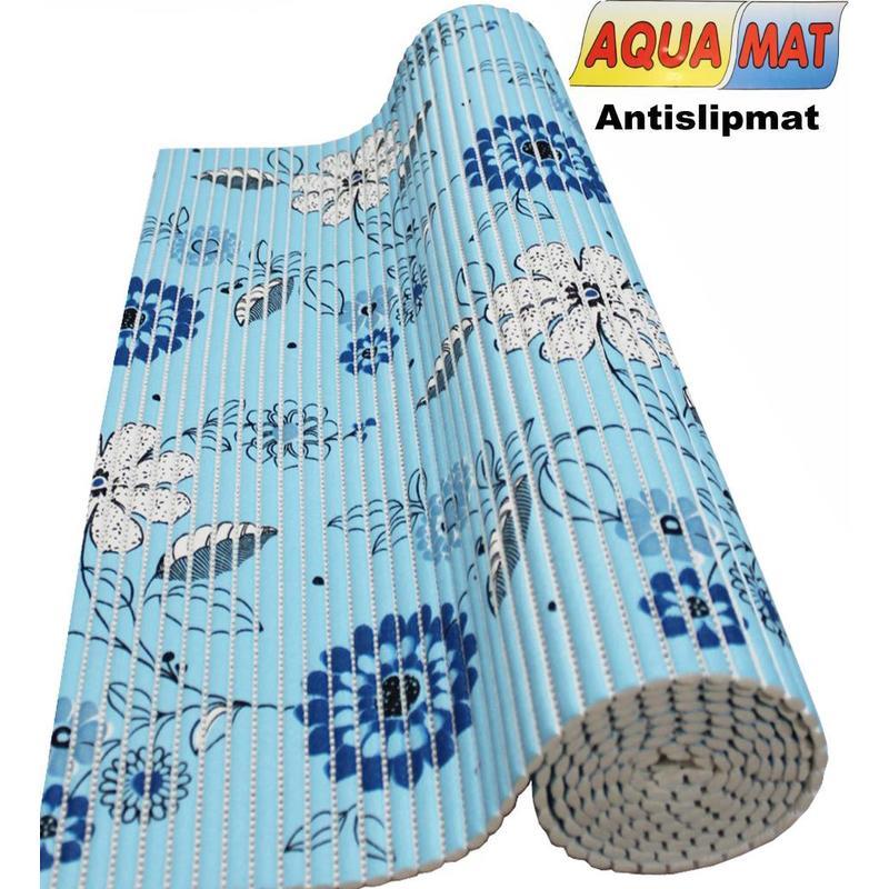 Aquamat antislipmat Blauw bloem motief 0,65 x 1 meter