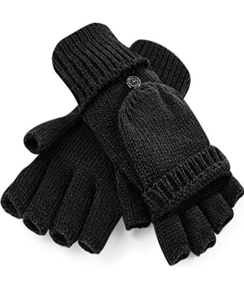 Gebreide Handschoenen zonder vingers met flap Zwart