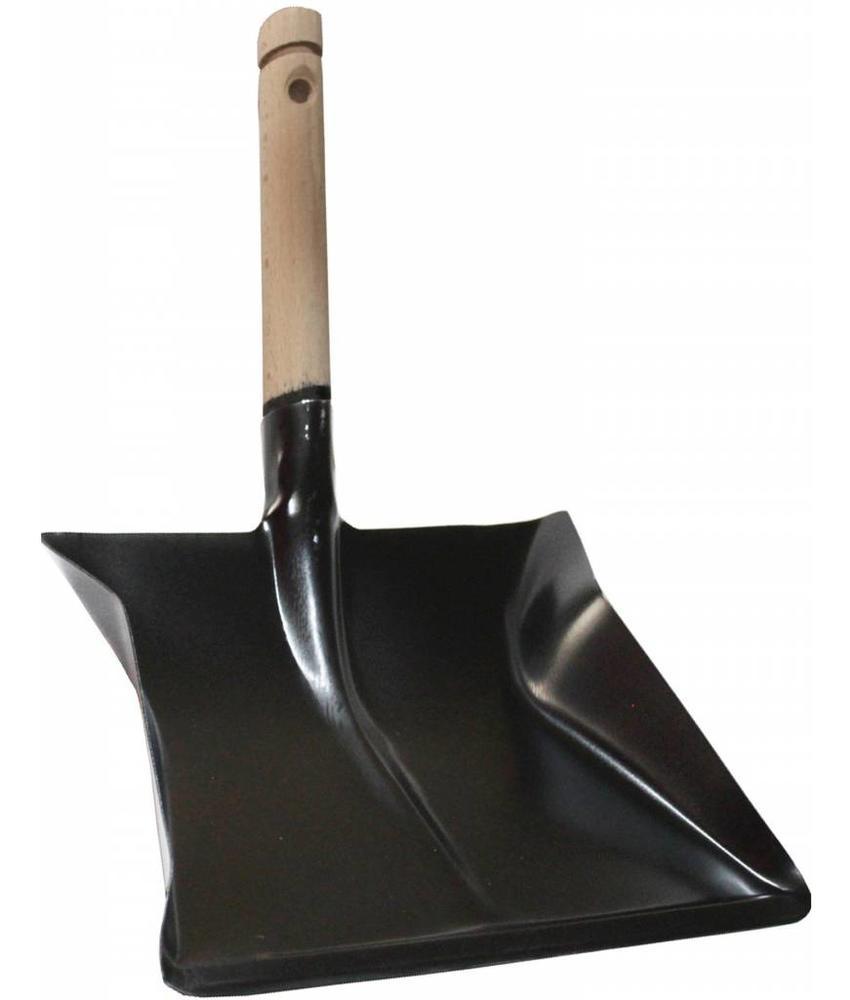 Zwart metaal Stofblik met houten steel