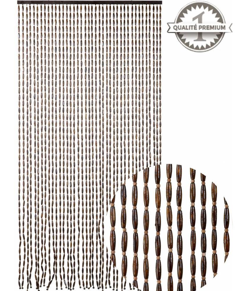 Kralengordijn  houten parels natural brown  90x200 cm