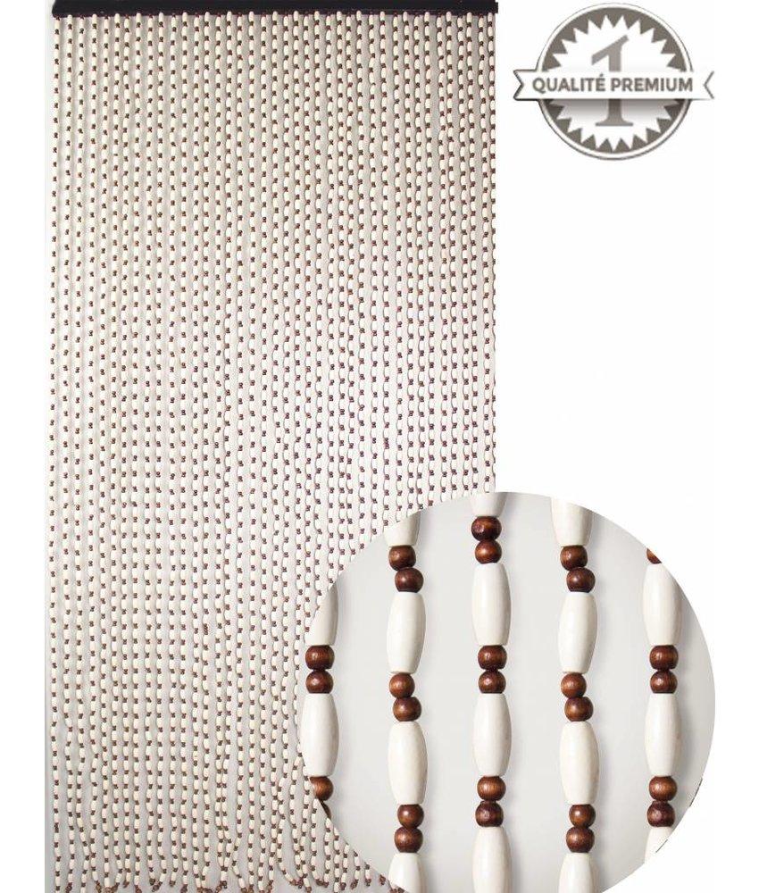 Kralengordijn  houten parels wit/bruin  90x220 cm