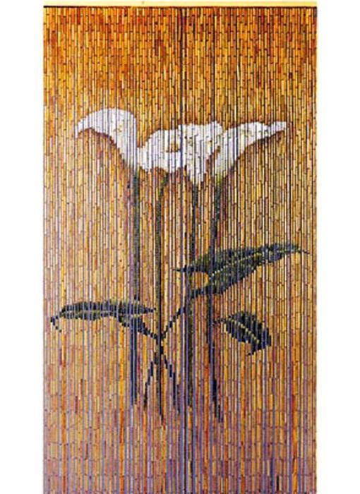 """Bamboe vliegengordijn """"Arum bloemen"""" 90 x 200 cm"""