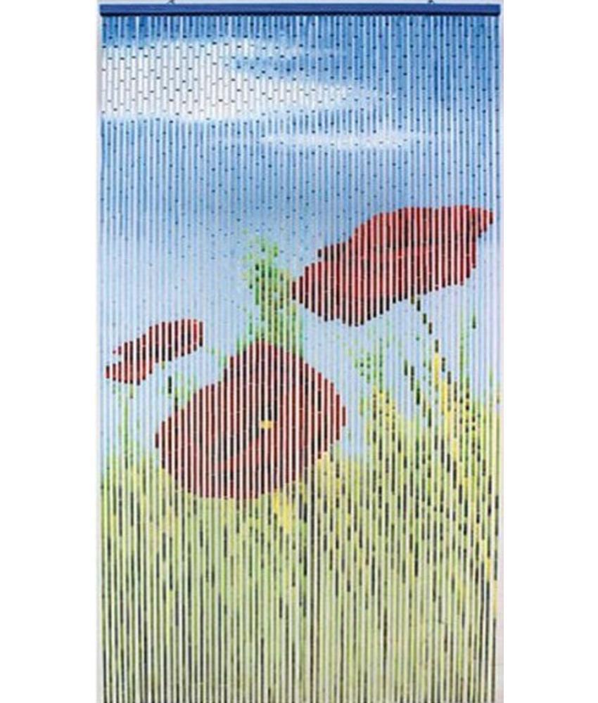 """Bamboe Vliegengordijn """"Klaprozen""""  90x200 cm"""