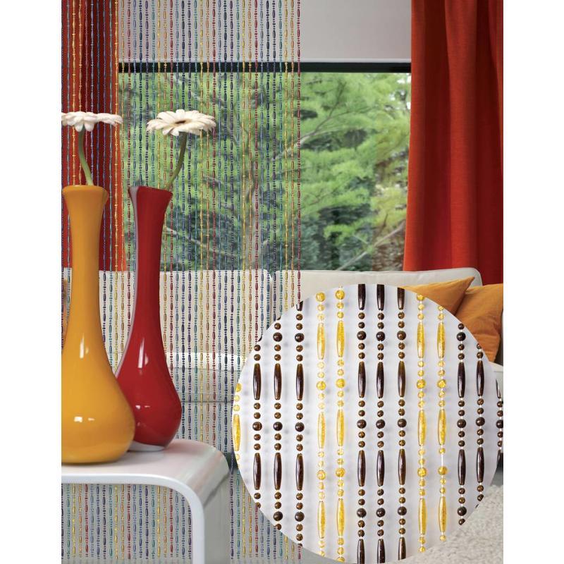 "Kralengordijn  ""Olivia"" amber/honing transparant   90x220 cm"