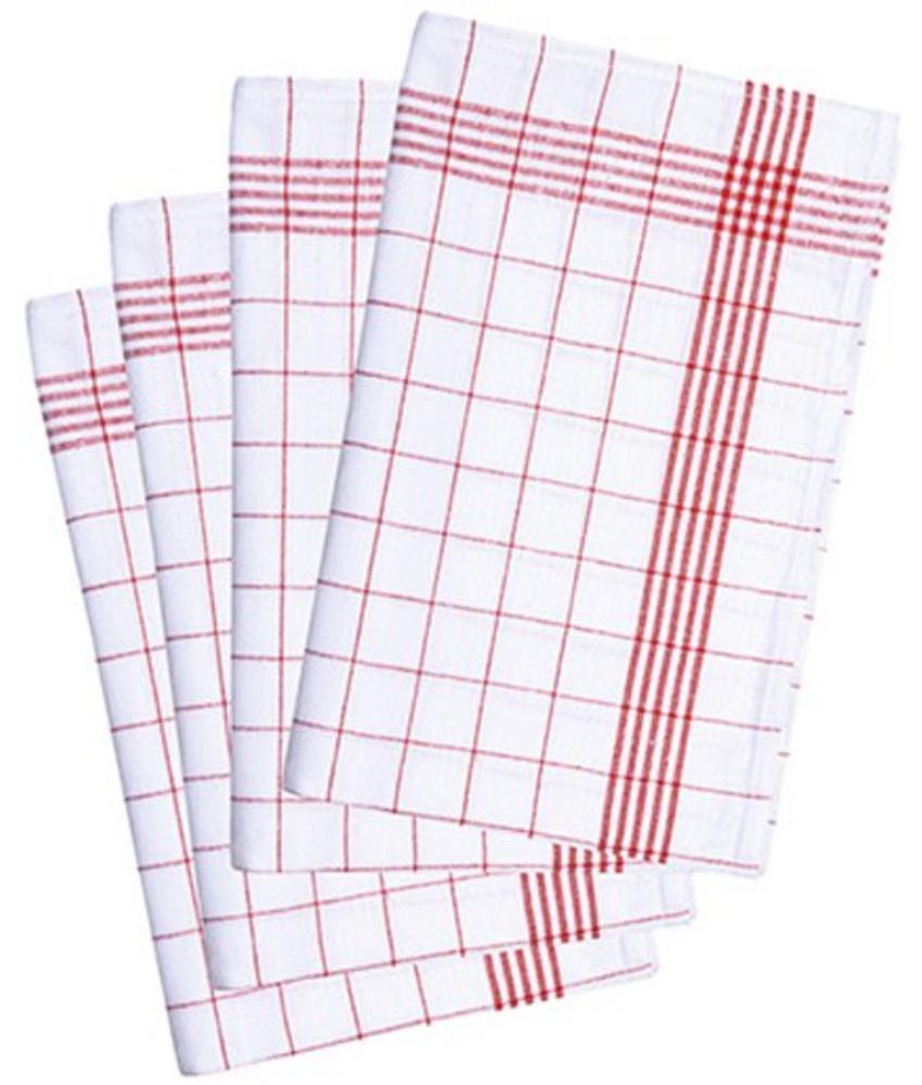 Geruite Theedoek  in katoen  (10 stuks)  Rood