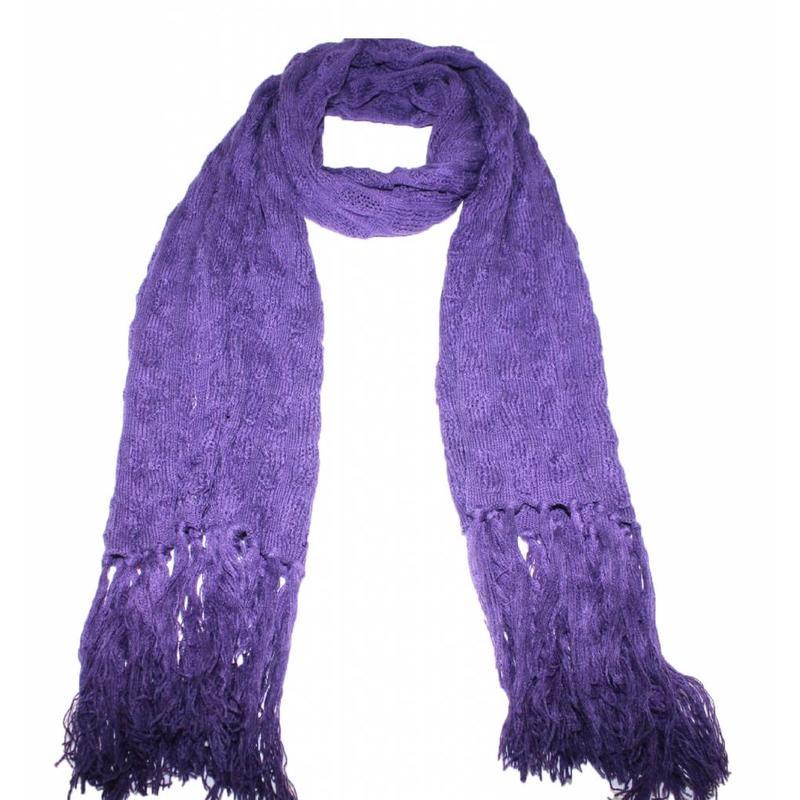 Sjaal gebreid met franjes