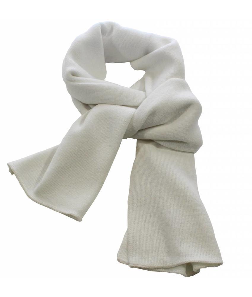 Sjaal gebreid effen Wit  180 x 30 cm