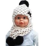 Baby- Kindermuts met sjaal ecru - Strikmotief