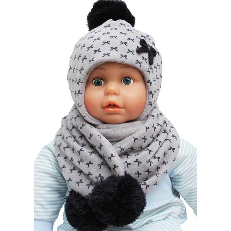 Baby- Kindermuts met sjaal grijs  - Strikmotief