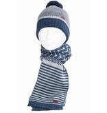 Gebreide kindersjaal blauw/grijs