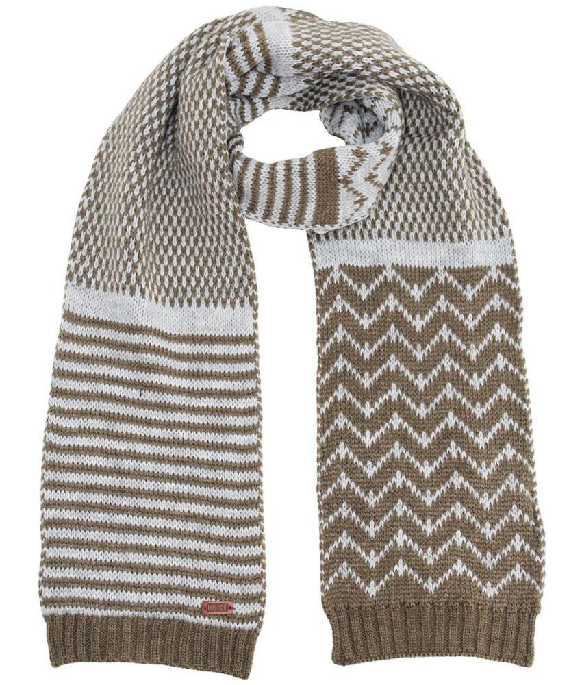 Gebreide kindersjaal kaki/grijs