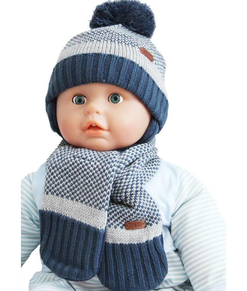 Baby muts met sjaal blauw/grijs