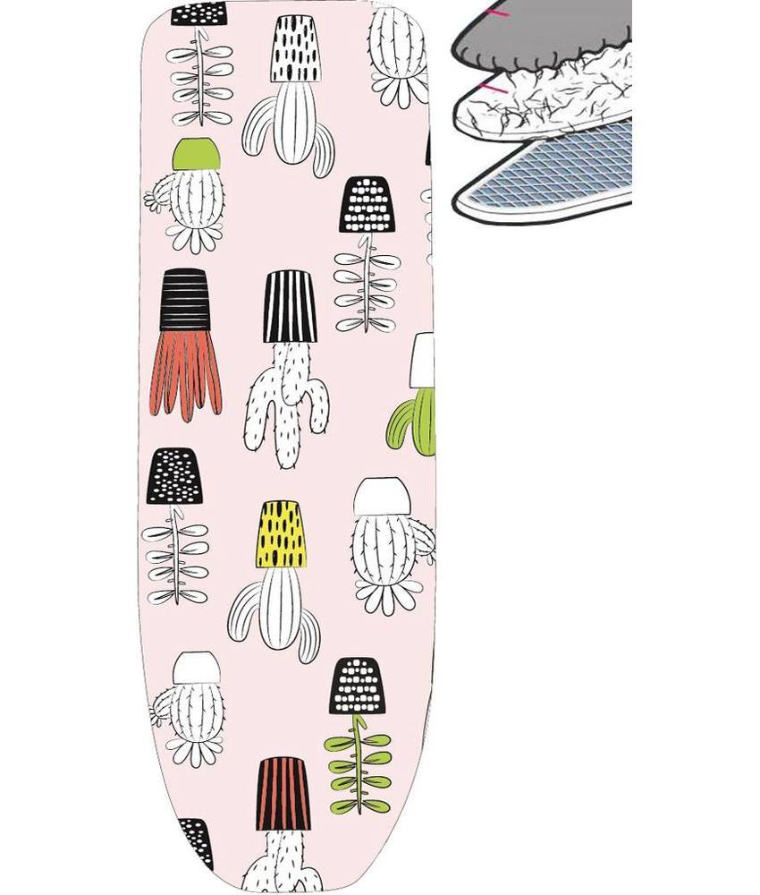 Strijkplankhoes 2 laags met elastiek  A  - Roze Cactusmotief