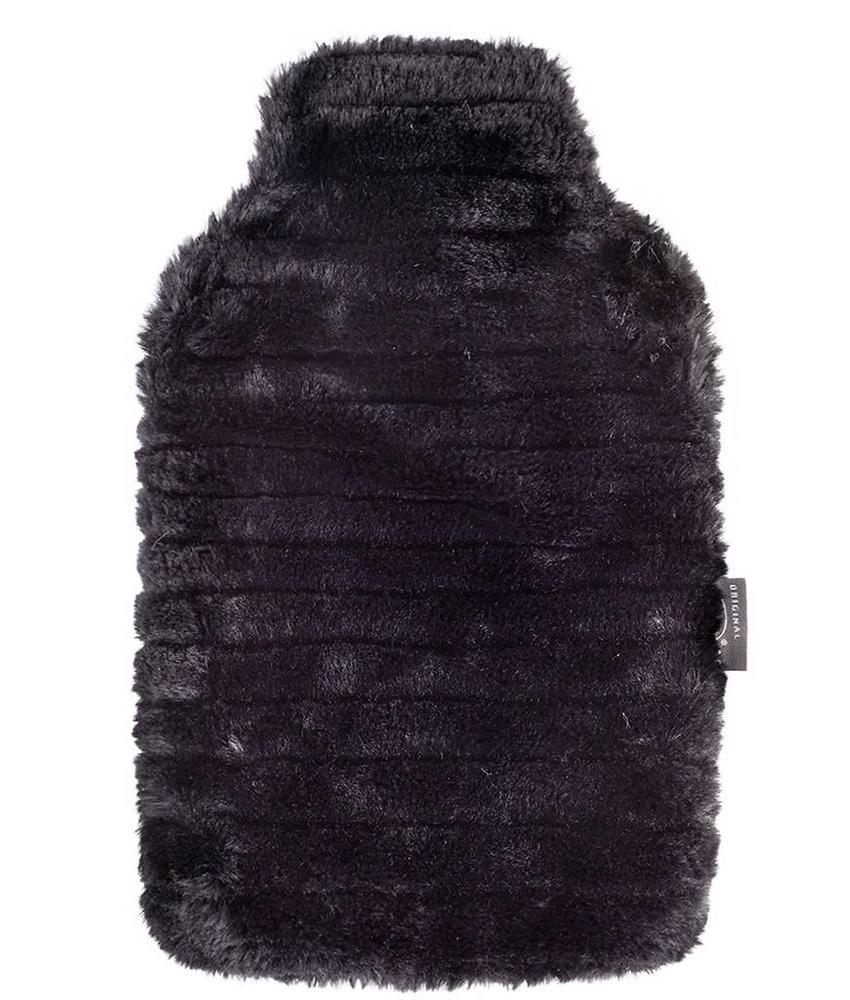 Fashy Warmwaterkruik 2 L. zachte imitatiebont - Zwart