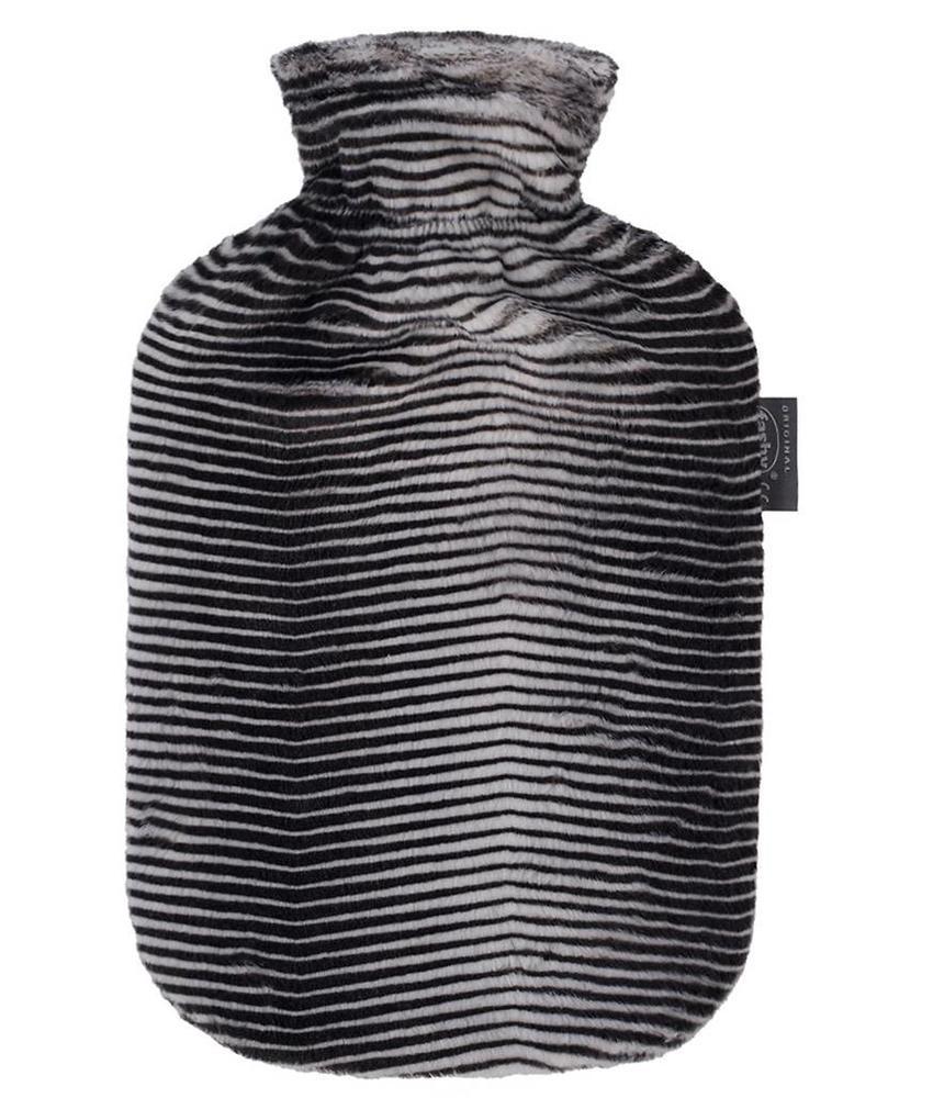 Fashy Warmwaterkruik 2 L. Zachte imitatiebont - Zebra look
