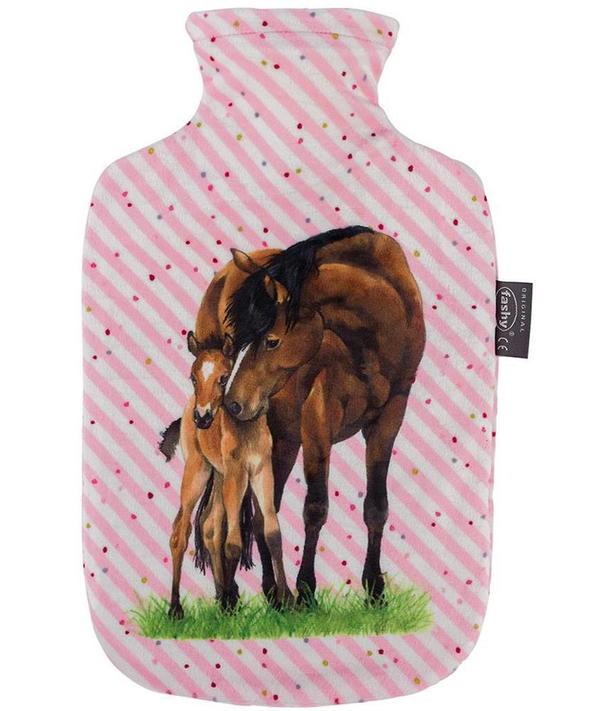 Fashy Warmwaterkruik 2 L.  zachte hoes Roze  -  Paarden design