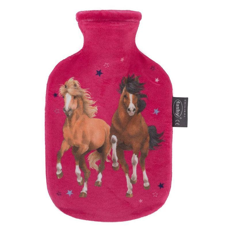 Fashy Warmwaterkruik 0,8 L.  zachte hoes Roze  -  Paarden design