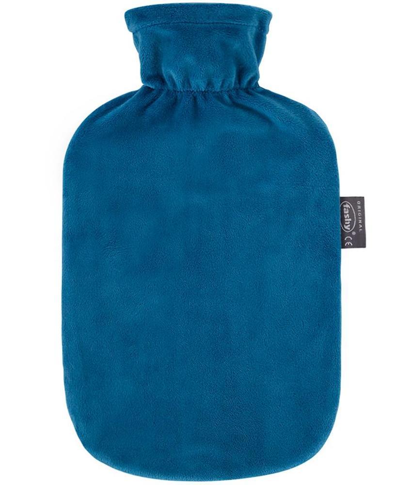 Fashy Warmwaterkruik 2 L. zachte velours Aqua blauw