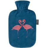 Fashy Warmwaterkruik 2 L. zachte velours - Flamingo's