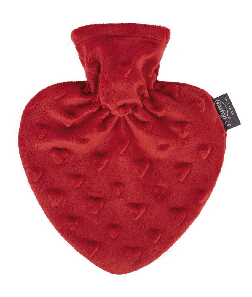 "Fashy Warmwaterkruik Hartvorm 0,7 L.  ""Hartjes design rood"""