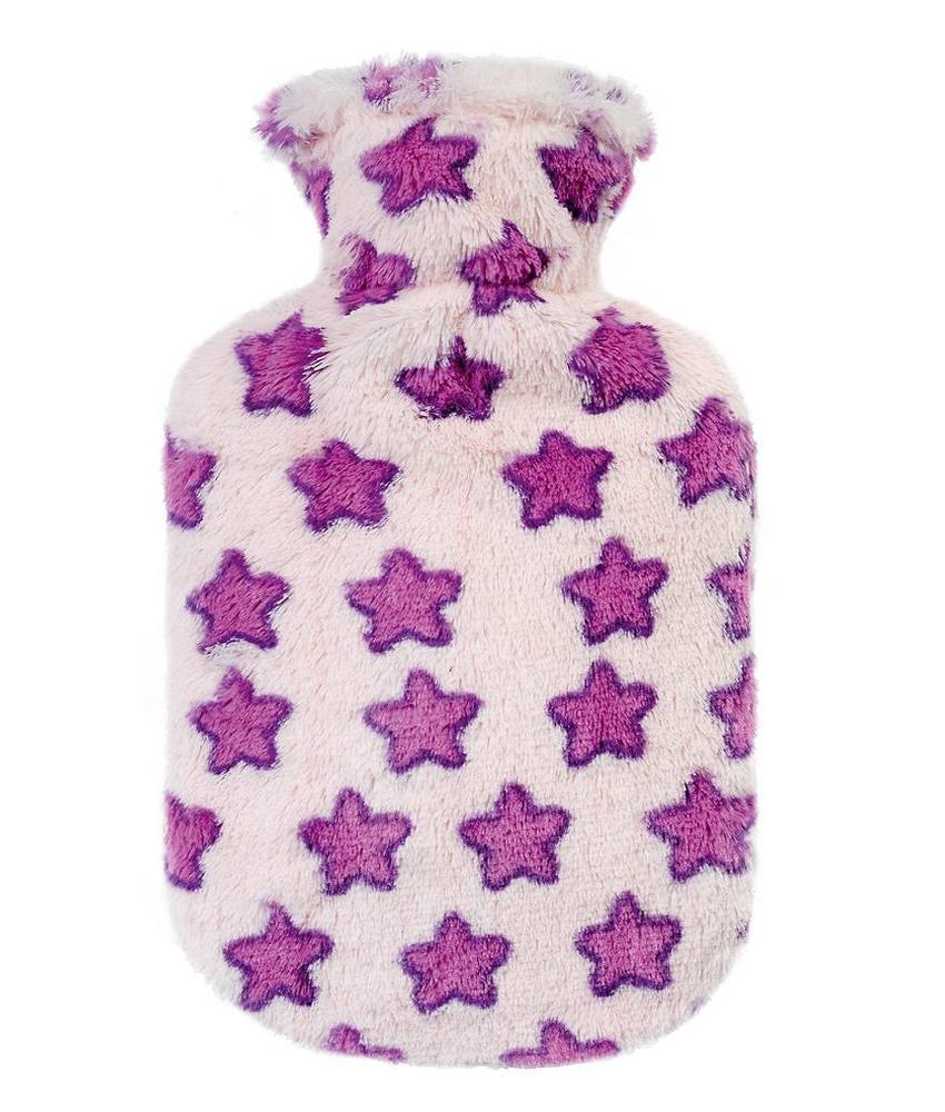 Fashy Warmwaterkruik 0,8 L.  Fleece hoes - paarse sterren