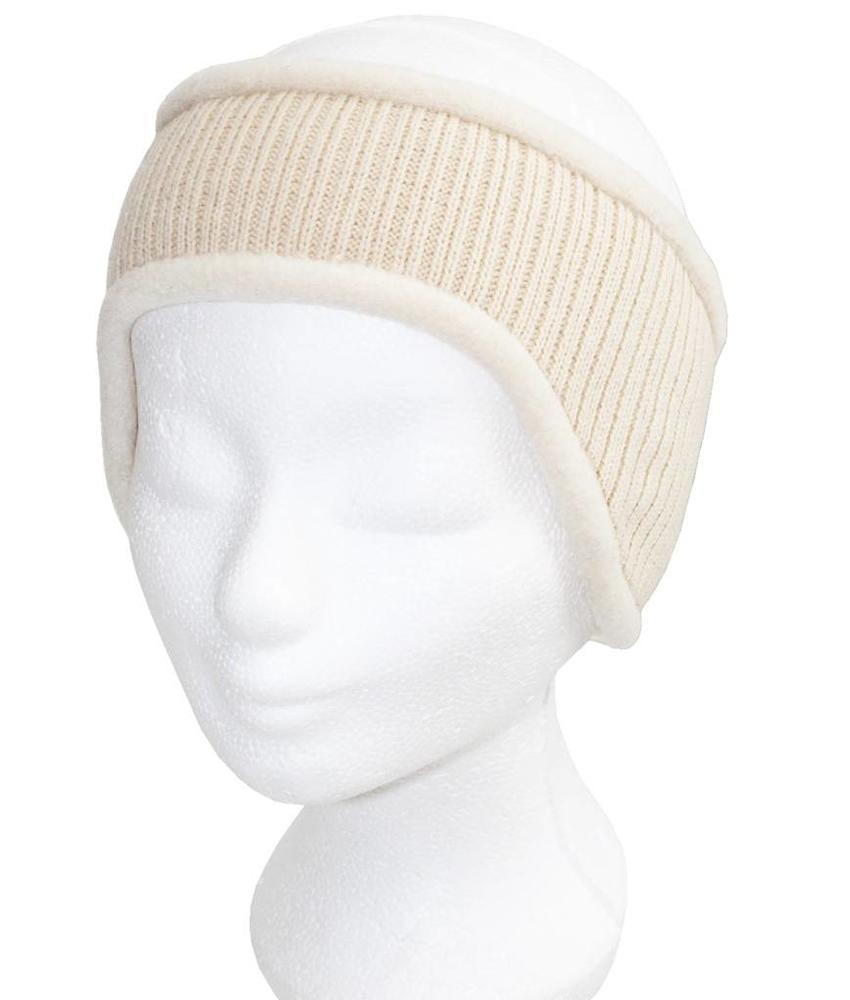 Haarband gebreid Ecru met fleece