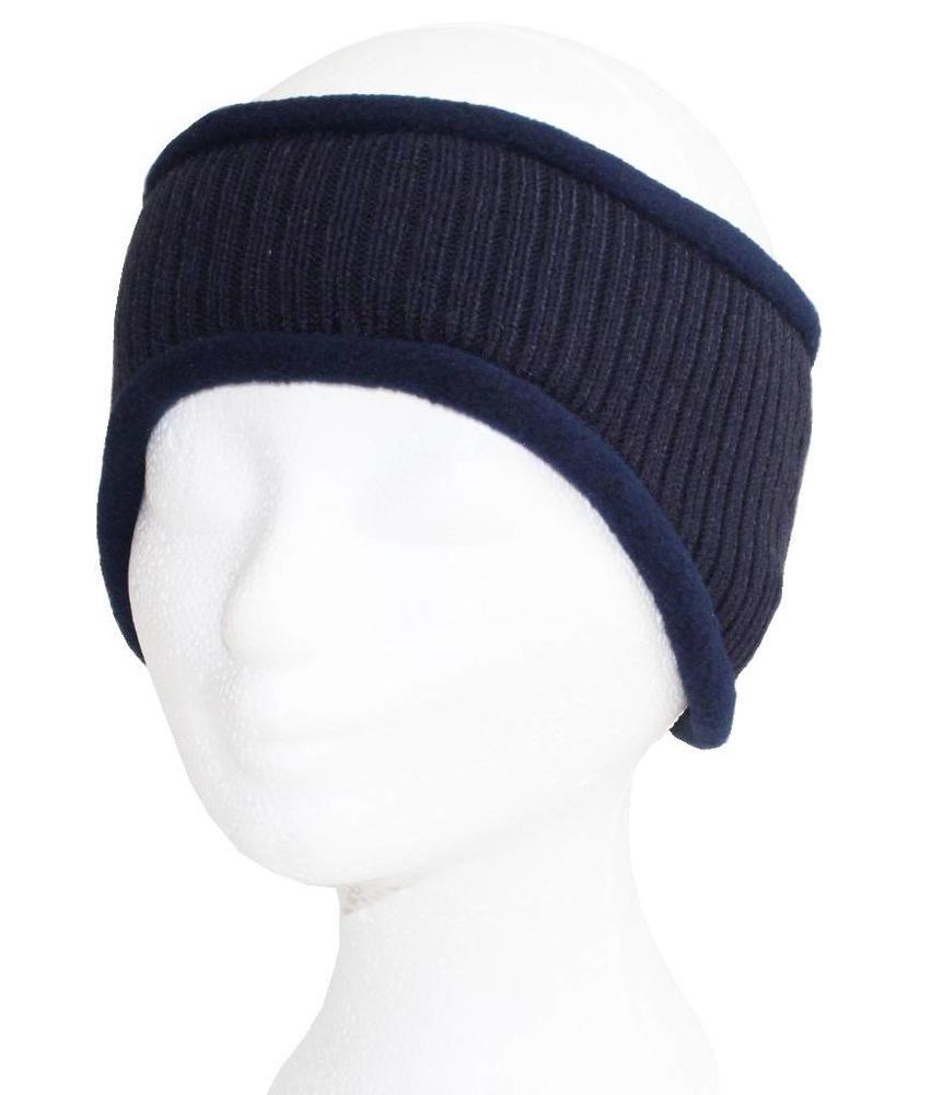 Haarband gebreid Navy Blauw met fleece