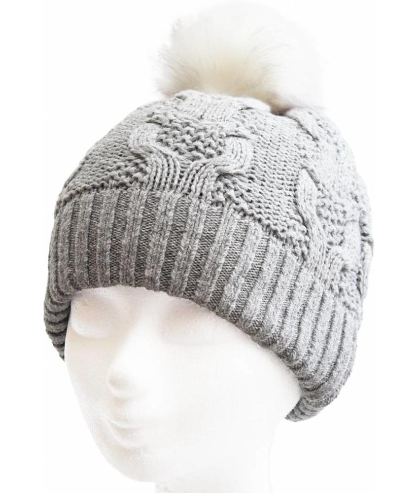Dames Muts pompon fur / Cable