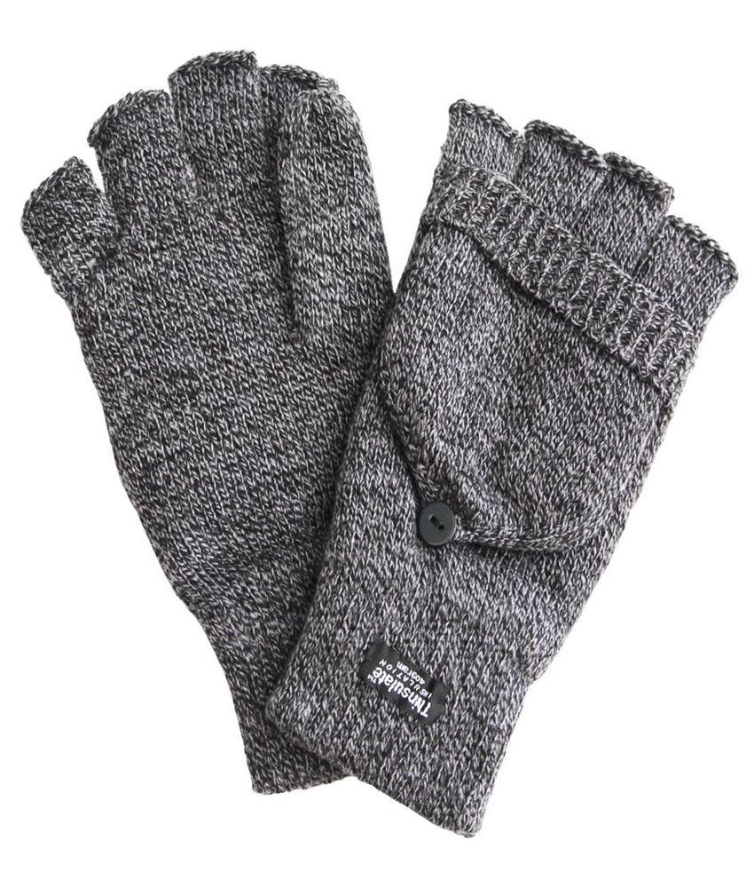 Thinsulate Handschoen zonder vingers met flap  Grijs