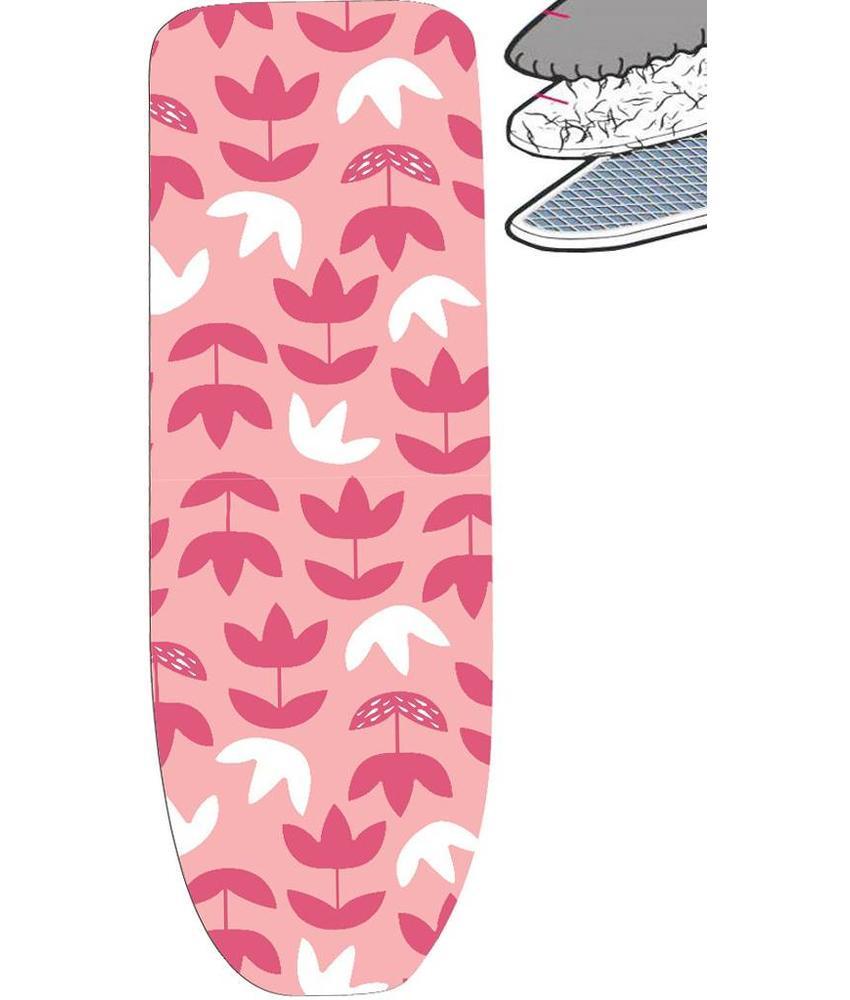 Strijkplankhoes 2 laags met elastiek C - Roze Bloemmotief