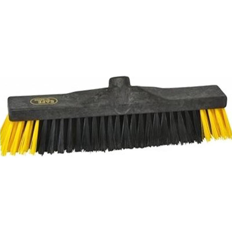 Safe Brush Zaalveger / Werkplaatsbezem industrie - 40 cm - Zwart/Geel