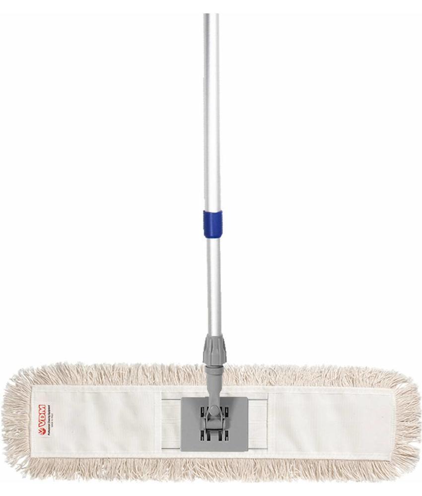 Mophouder  60 cm.  met  Katoenen  vlakmop  wit  en telescoopsteel